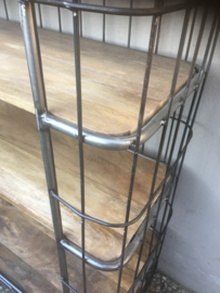 Grote industriële kast trolley kar 180 X 110 X 40 cm bakkerskar bakkersrek schap rek metaal houten planken