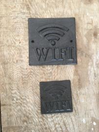 Gietijzeren WiFi bord bordje klein tekstbord industrieel bruin metaal metalen