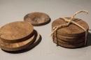 Set van 4 houten onderzetters onderzetter landelijk stoer teakhout stoer