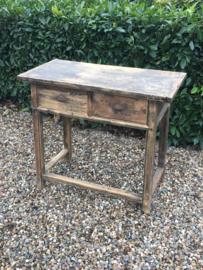 Oude houten haltafel sidetable ladenkast stoer boeren kast buro bureau landelijk badmeubel industrieel werktafel werkbank