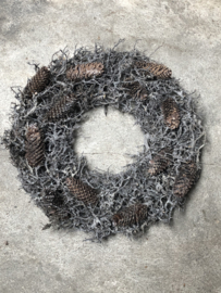 Vergrijsde krans bonsai Cone mos rendiermos denneappels  60-65 cm whitewash wit grijze