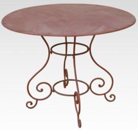 Smeedijzeren bistro tafel eettafel roest tafeltje bistrotafeltje tuintafel landelijk Brocant 140 cm