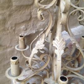 smeedijzeren kroonluchter hanglamp landelijk lamp taupe beige grijs
