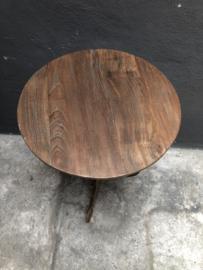 Rond houten wijntafel wijntafeltje bijzettafel bijzettafeltje landelijk 50 cm
