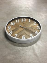 Mooie metalen witte met naturel houten wandklok klok 40 cm  stationsklok hout wit duidelijk