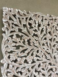 Prachtig groot vierkant Wandpaneel wandornament landelijk  licht grijs 120 x 120 cm