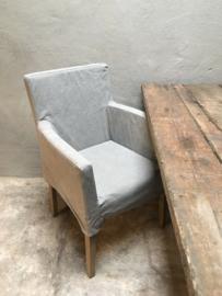 Heerlijke eetkamerstoelen stoel fauteuil met losse linnen washed hoes  landelijk stoer