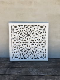 Vierkant houten paneel Wandpaneel whitewash wandornament tegel 60 x 60 cm wit witte wandornament landelijk Mandela afbeelding landelijk