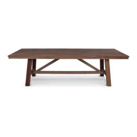 stoere  grote houten tafel teakhouten teakhout houten blad 240 x 90 cm houten onderstel landelijk stoer industrieel