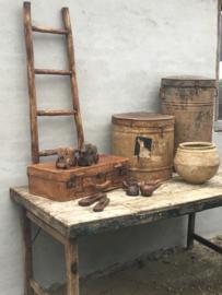Originele Oude bruin leren vintage koffer leer cognac landelijk industrieel retro mand opbergkist