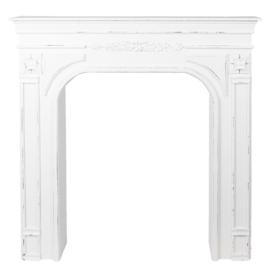 Mooie wit witte whitewash houten schouw voorzetschouw open haard kachel hout 102 x 13 x 103 cm landelijk
