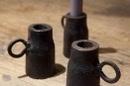 Zwart gietijzeren kandelaar blakertje landelijk stoer industrieel