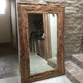Grove teakhouten spiegel robuust landelijk grof hout groot 120 X 80 cm