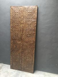 Groot metalen Wandpaneel wanddecoratie paneel Luik deur schuifdeur motief landelijk stoer bruin 190 x 77 cm vintage retro industrieel