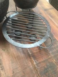 Metalen rechaud warmhoudplaat theelicht theelichtje theelichtjes stove kandelaar onderzetter rond