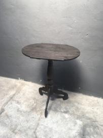 Ovaal houten wijntafel wijntafeltje bijzettafel grijs antraciet bijzettafeltje landelijk 61 x 41 cm