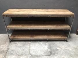 Industriele landelijke sidetable dressoir kast 3 planken rek schap strak vintage industrieel landelijk hout metaal