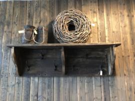 Groot Stoer landelijk oud houten kapstok wandconsole 120 cm wandkapstok wandrek schap rek wandconsole regaal landelijk stoer hout