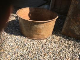 Grote oud metalen bak teil emmer wasbak bad industrieel sleets landelijk bloembak bak schaal urban vintage geleefd oude