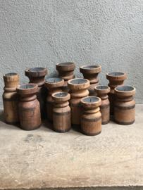 Stoere houten kandelaars kandelaar M landelijk robuust hout metaal Brocant industrieel vintage