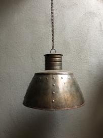 Industriele landelijke metalen vintage grijsbruin ketel 45 cm hanglamp incl ketting en nieuwe bedrading industrieel landelijk