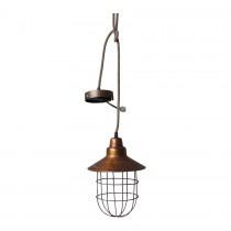 Koperen stallamp industrieel landelijk hanglamp korf stolp korflamp model koper