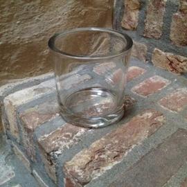 Dik Glazen windlicht kandelaar doorsnede  14 cm glas landelijk stoer