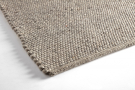 Vlakgeweven 100 % vervilt wol rond kleed 200 cm taupe