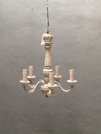 Landelijke houten kroonluchter hanglamp smoken Smokey grey taupe landelijk stoer grijs bruin beige