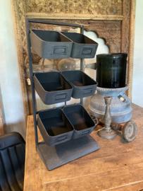 Grijs metalen rekje schapje rek keukenrek keukenrekje met bakjes kruidenrek organizer industrieel landelijk stoer