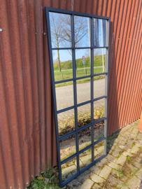Grote zwarte metalen spiegel Stalraamspiegel square  fabriek industrieel 180 x 80 cm landelijk zwart