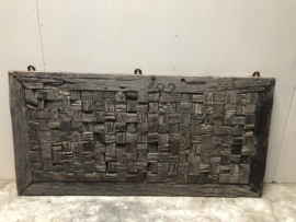 Stoer oud houten wandpaneel cubic hout 120 x 60 cm landelijk stoer urban vintage blokjes