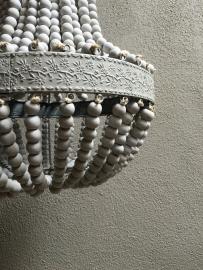 Houten kralen kroonluchter hanglamp mat grijs landelijk stoer zakkroonluchter sober