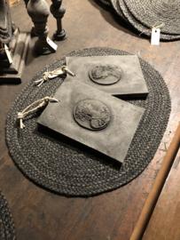 Zwart grijze ovale placemat antraciet
