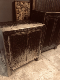 Prachtig zwart oud houten kastje 74,5 x 45 x H85 cm kast 2 deurskastje wastafel wastafelmeubel landelijk stoer donker grijs antraciet zwart mat