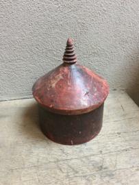 Oude grote houten Birma box doos tabacco vintage doos trommel hout vintage