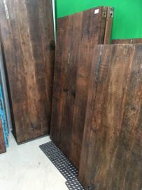 Oude landelijke industriële eettafel 150 x 75 cm naturel hout houten Sidetable bureau buro tuintafel klaptafel werkbank werktafel oud vintage stoer