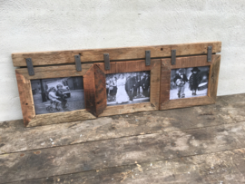 Grote railway houten fotolijst geschikt voor 3 foto's fotolijstjes oud hout landelijk combi lijst
