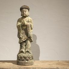 Prachtig oud houten monnik buddha Boeddha boedha budha beeld oud hout beeldje landelijk oosters heilig