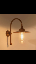Koperen buitenlamp lantaarn stallamp piavon tierlantijn wandlamp  incl glazen stolp