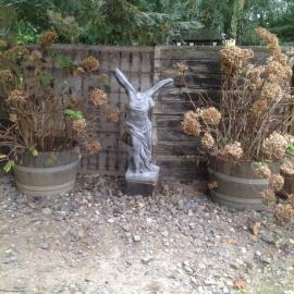 Mega grote betonnen engel Nike victoria griekse godin beeld tuinbeeld grijs beton landelijk beeldentuin, kan ook in wit
