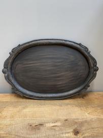 Zwart houten dienblad ovaal landelijk stoer barok brocant
