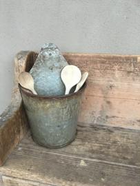 Metalen pot bakje pollepels zinken plantenhanger bloembak bloempot bak wandbak boerenkeuken wand hanger plant