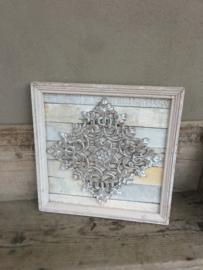 Stoer landelijk oud houten wandpaneel 45 x 45 cm vergrijsd grijs grijze beige wandornament luikjes wandpanelen wanddecoratie hout panelen luiken