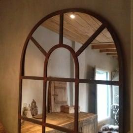 Grote stalraamspiegel tuinspiegel 220 x 100 cm spiegel landelijk tuin industrieel kozijn venster raam