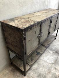 Enorm stoer metalen dressoir kast industrieel wastafel meubel onderplank 4 deurtjes wandmeubel grijs bruin 170 x 45 x 100 cm landelijk urban