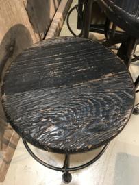 Industriele landelijke in hoogte verstelbare kruk Zwart zwarte barkruk eettafel hoogte stoer hout metaal industrieel landelijk vintage new urban
