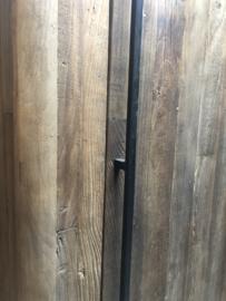Stoer vergrijsd houten keukenkast koelkast koelkastkast keuken keukentje (buiten)keuken oud Elmwood landelijk stoer grijs 200 x 96 x 67 cm