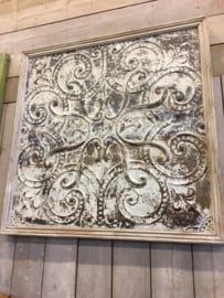 Uniek oud metalen wandplaat Wandpaneel met oud 120 x 120 cm houten lijst landelijk sober industrieel urban
