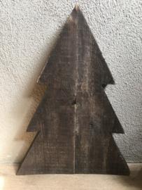 Grijs grijze  matzwarte houten kerstboom landelijk stoer kerst